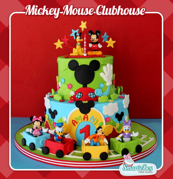 Pleasant Mickey Mouse Clubhouse Cake With Toy Figurines Mickey Mouse Personalised Birthday Cards Paralily Jamesorg
