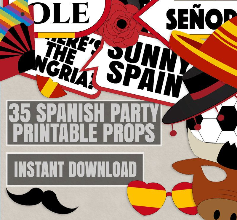 wedding photo booth props printable%0A PRINTABLE Spain Photo Booth Props u    Spanish Photo PropsSpanish Party PropsFiesta  PropsSpain Photo PropsSpanish PropsInstant Download   Photo booth and