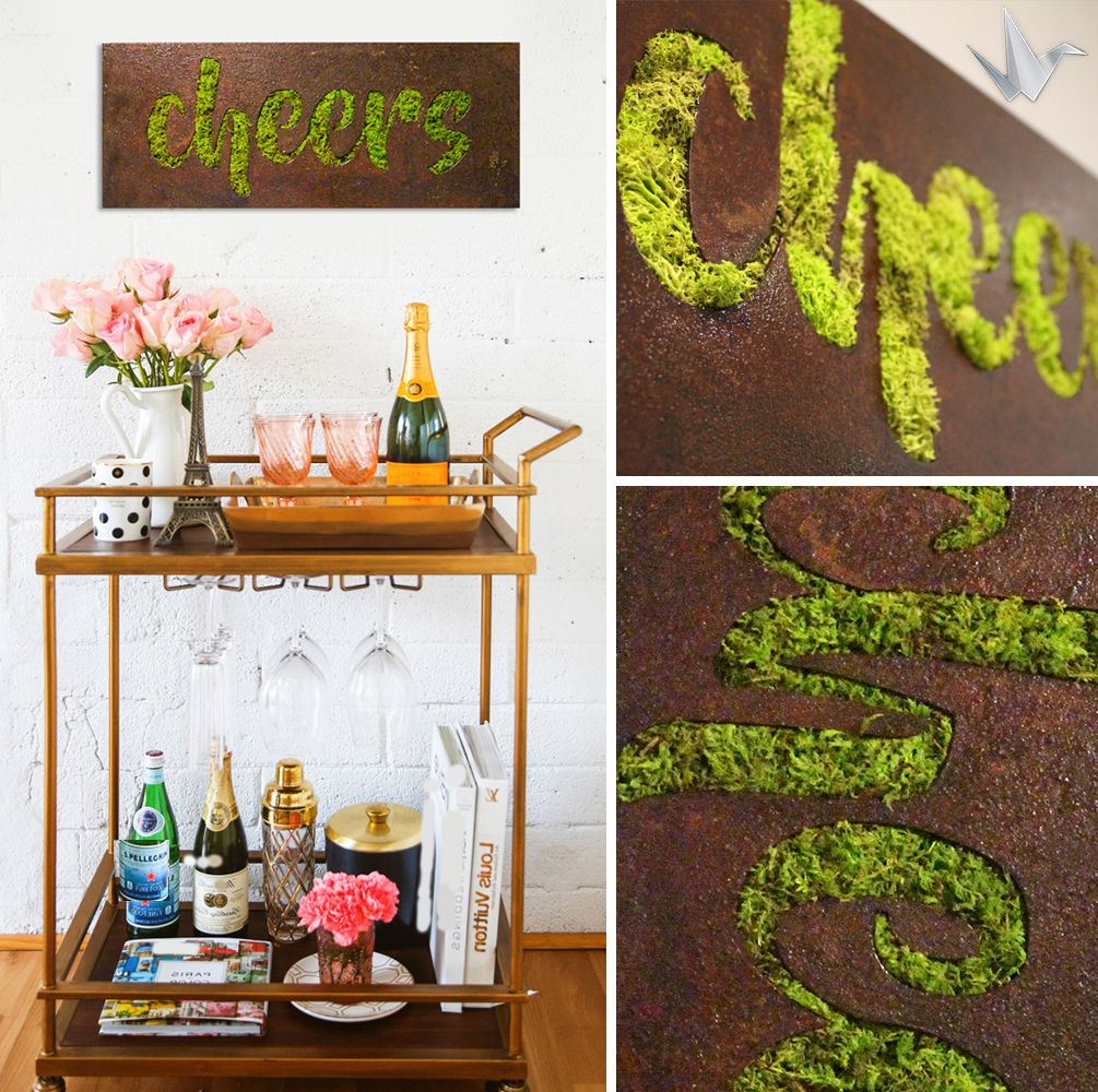 Cheers Wall Art Combining A Natural Rust Finish And Lush Moss This Art Piece Will Add A Touch Of Organic Style To Your Spa Organic Style Moss Wall Wall Decor