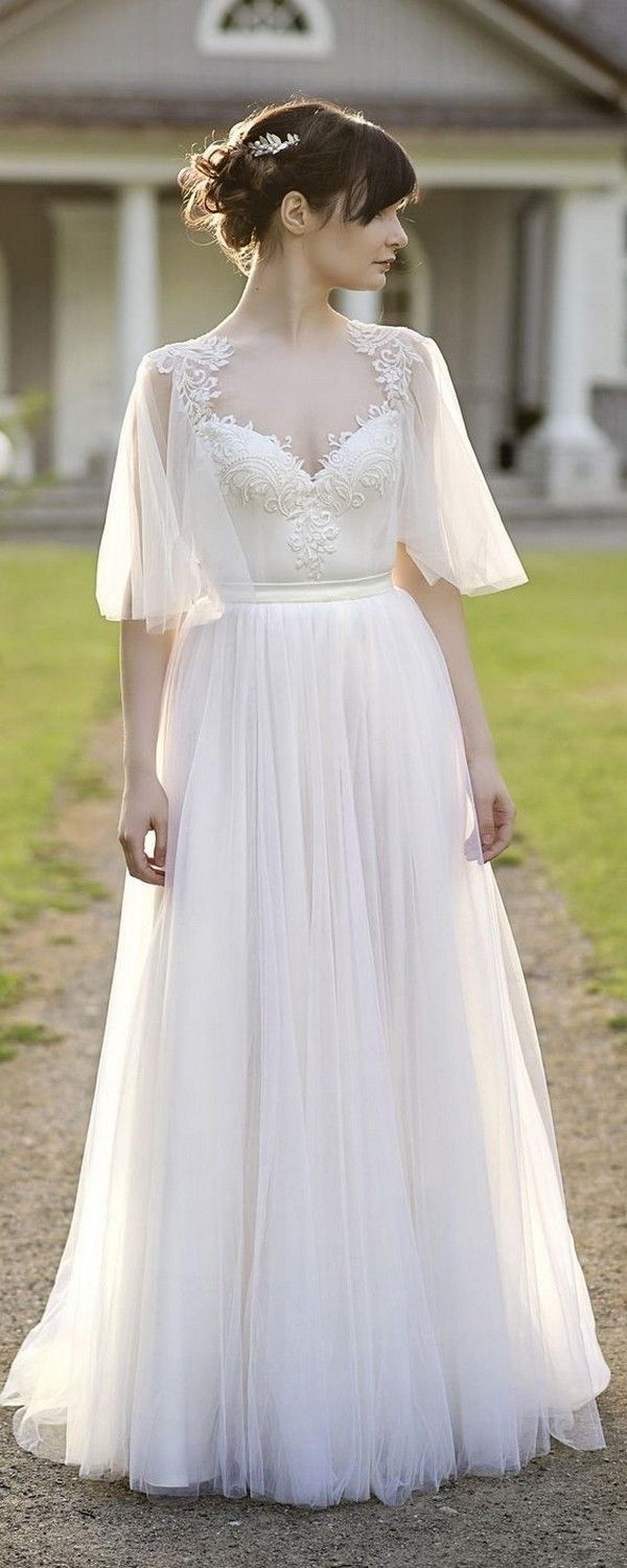 Boho two piece wedding dress with flutter sleeves for