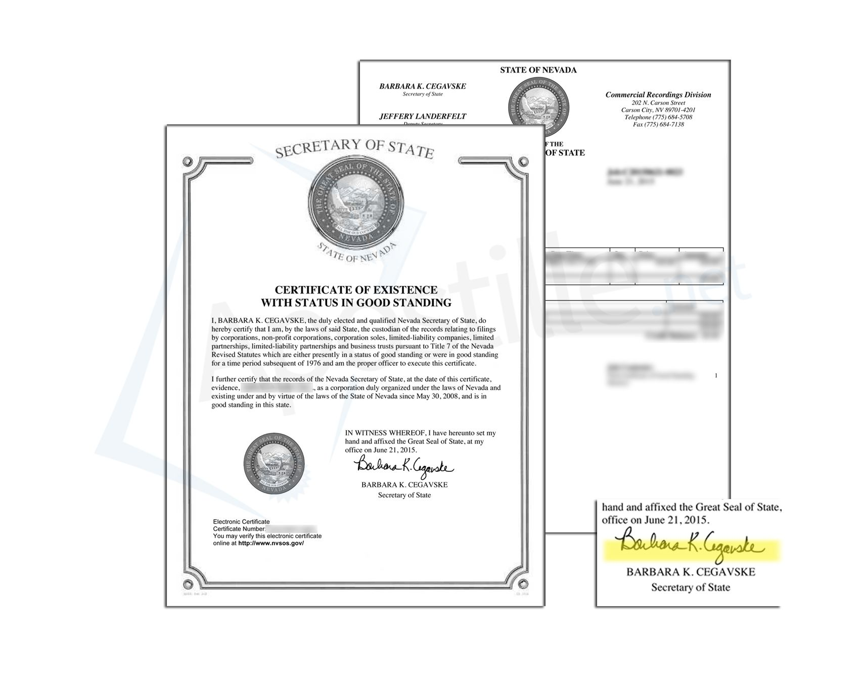 State Of Nevada Certificate Of Good Standing Issued By Barbara K