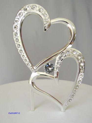 Wedding cake toppers double rings earrings