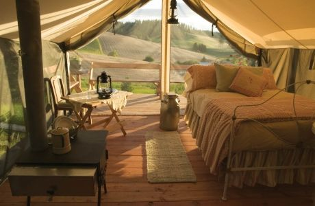 Mary Janeu0027s Farm B Moscow Idaho. Wood-burning stoves inside tents outdoor bathtubs meals from the organic farm. Someone give me a reason to go to Idaho! & Cimarron canvas platform tents by The Colorado Yurt Co. contribute ...