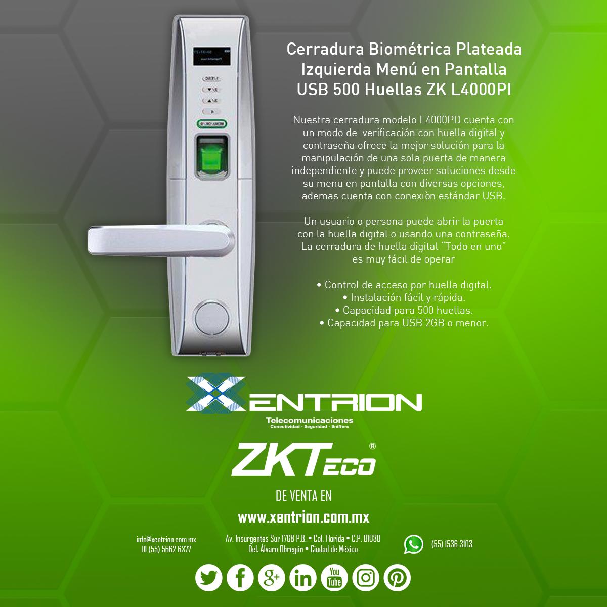 Cerradura Biométrica Plateada ZKTeco Inc Izquierda Menu en