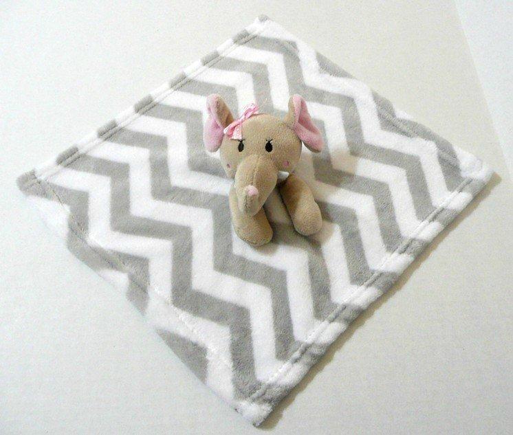 SL Fashion Gray Chevron Stripe Elephant Lovey Blanket Baby Security Rn 119741 #SLFashions