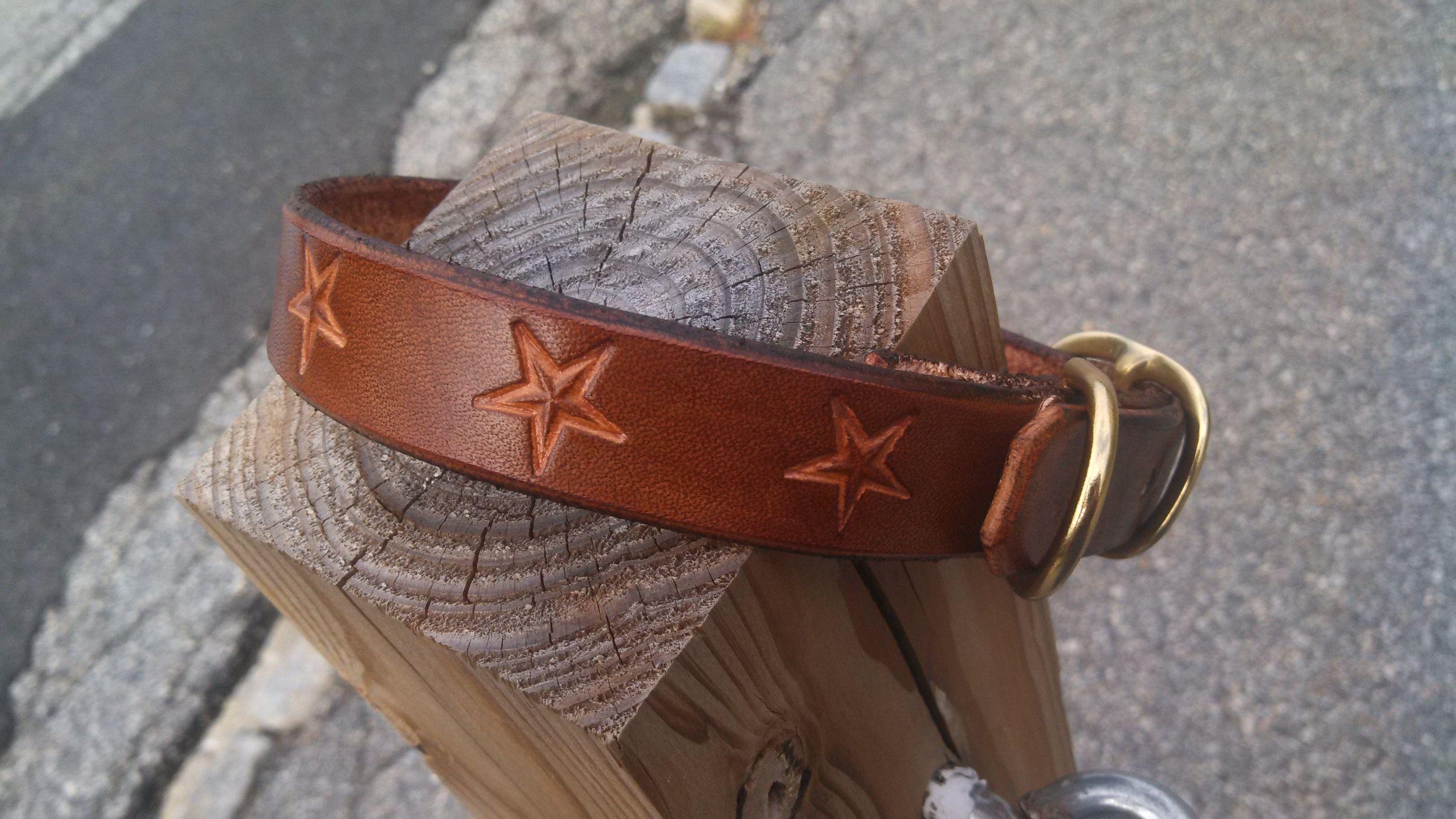 11153a456ca Quality Leather Collar with Solid Brass Hardware. Hand cut, dyed and tooled