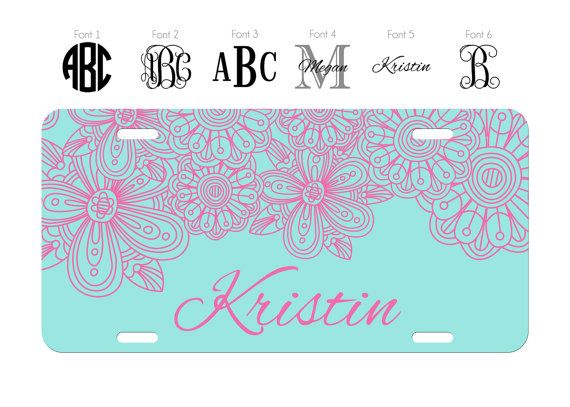 Custom Personalized Pink Background Chrome Frame