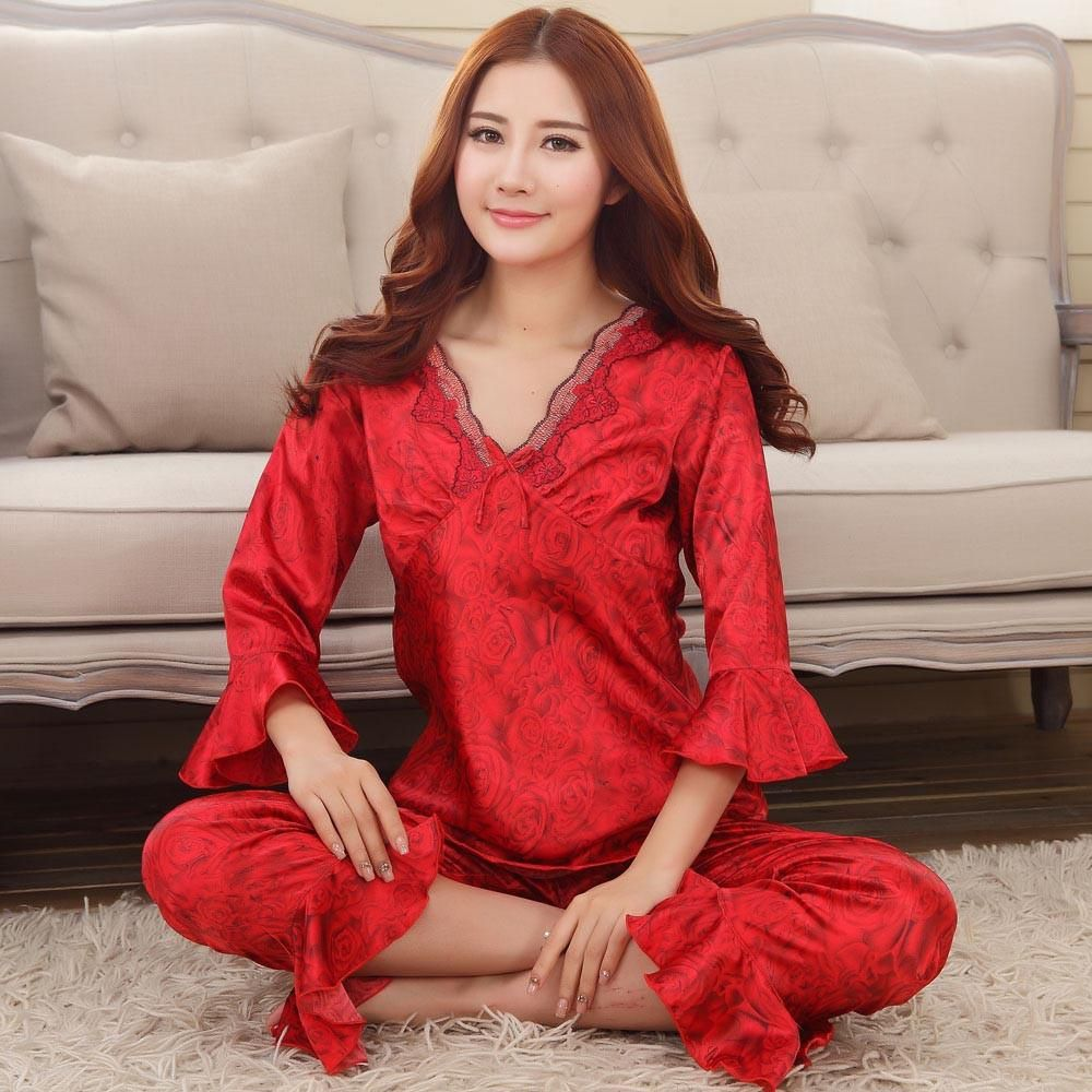 Faux silk mens pajama sets men sleepwear male sleep lounge Chinese red  wedding Pijamas for women couple 93f7f1267