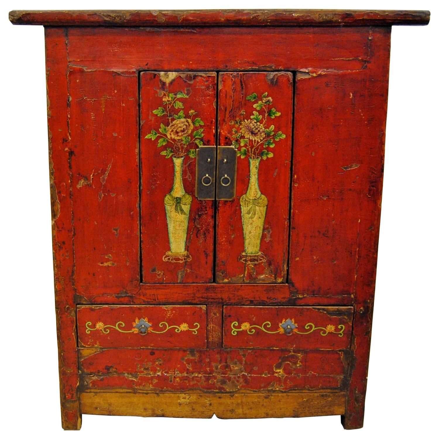 Antique Red Chinese Tall Cabinet, Gansu Province, Circa 1880 | From A  Unique Collection