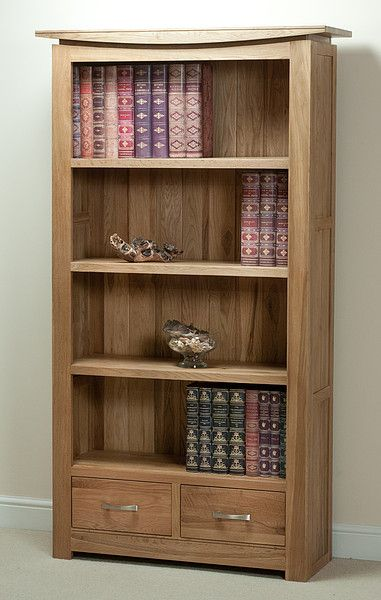 Tokyo Natural Solid Oak Tall Bookcase Home Office Furniture