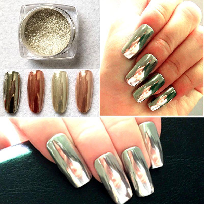 1g/Box Metallic Mirror Effect Nail Powder Glitters Shiny Holographic ...