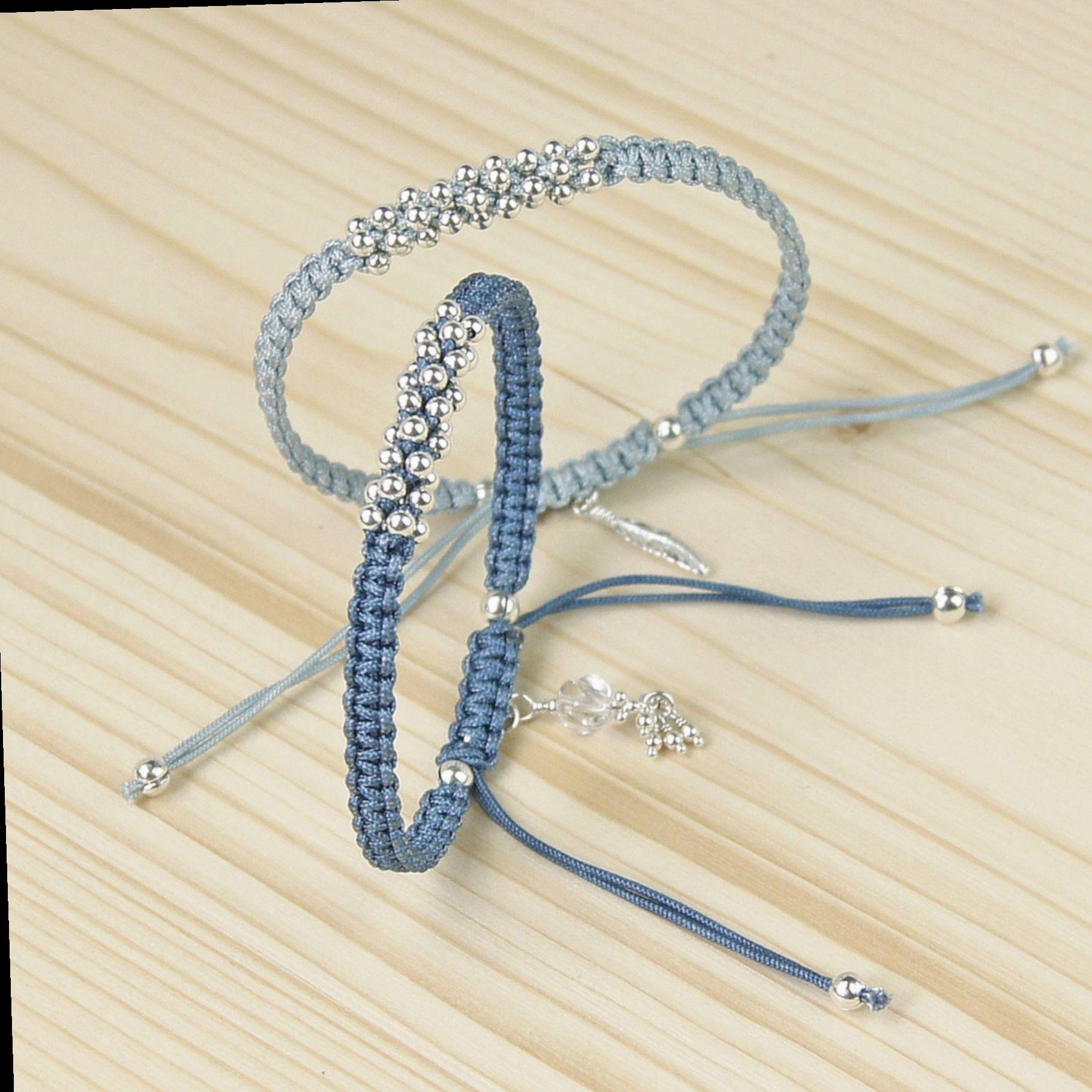 BFF gift Blue Beaded Shamballa Macrame Cord Bracelet Casual Friendship Adjustable Bracelet