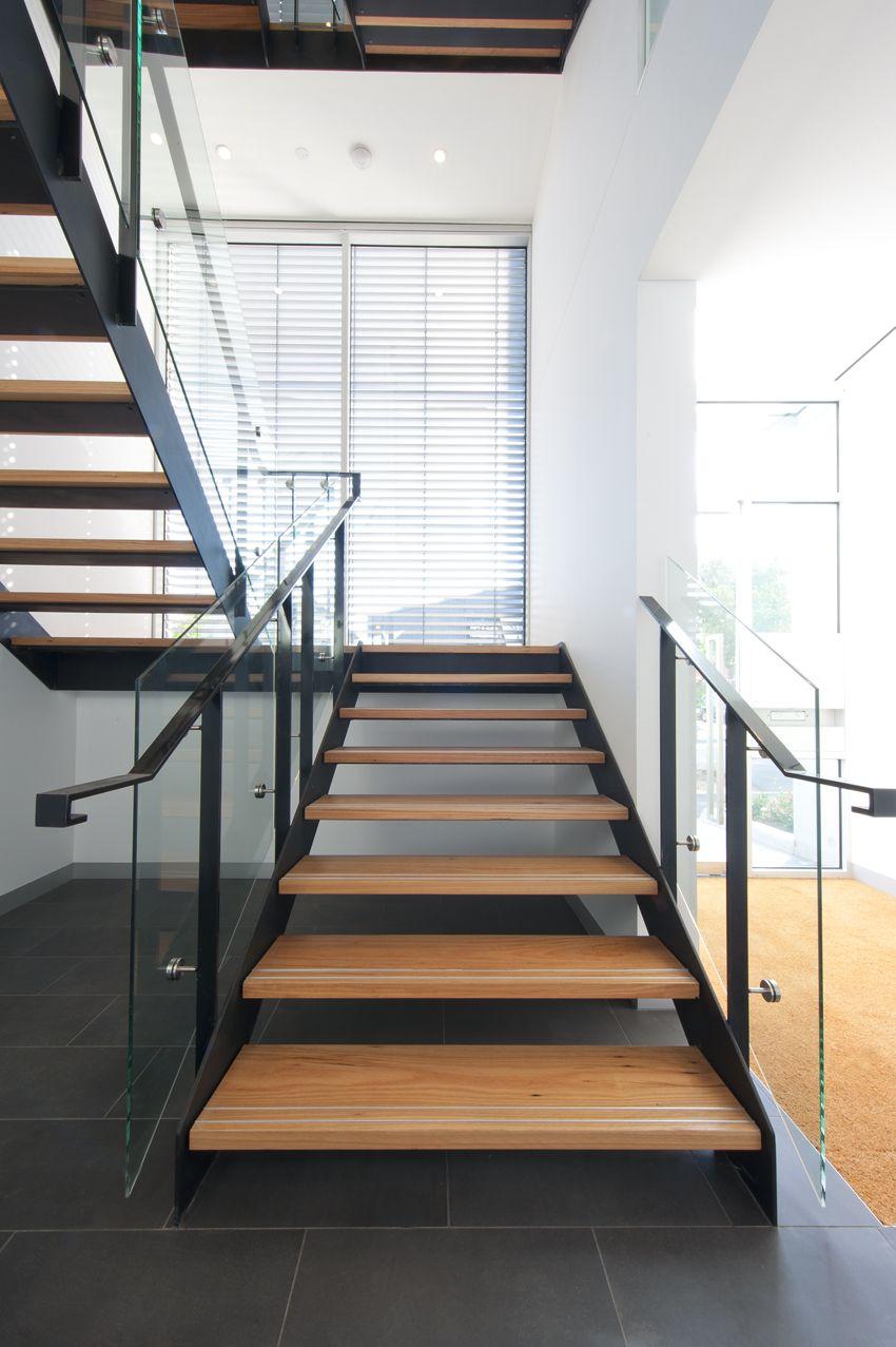 Cremorne Apartments| Melbourne | Black Steel Stringers | Glass Balustrade |  Blackbutt Treads | Timber