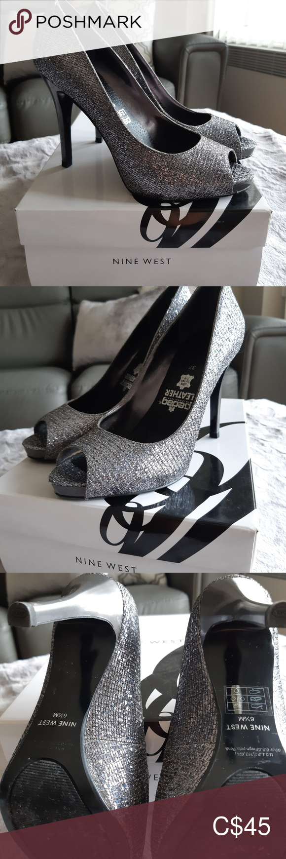 Nine West Silver Evening Shoe With Images Silver Evening Shoes Shoes Women Heels Evening Shoes