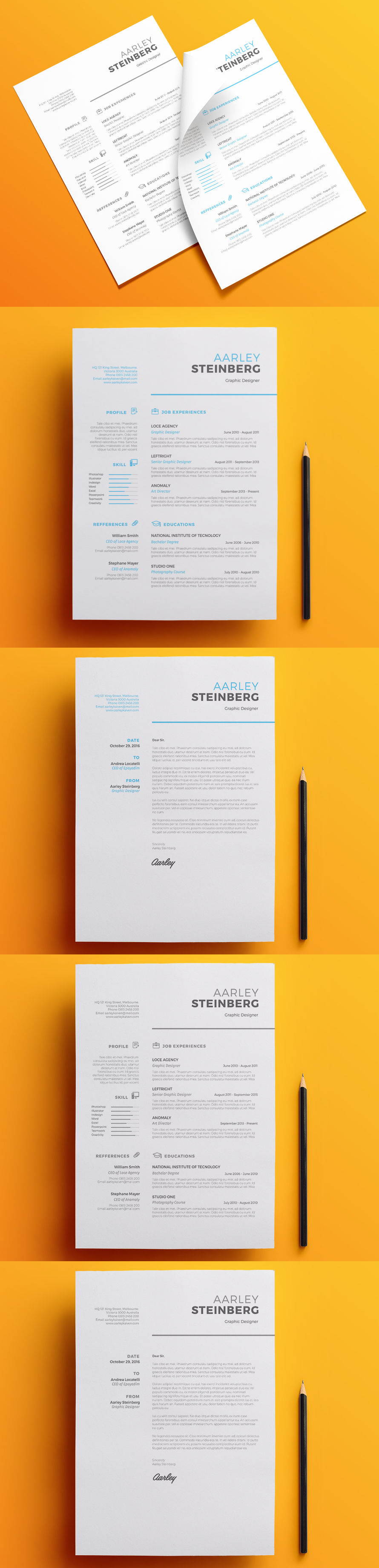 Clean and Professional Resume Set - Template PSD, MS Word docx & doc ...