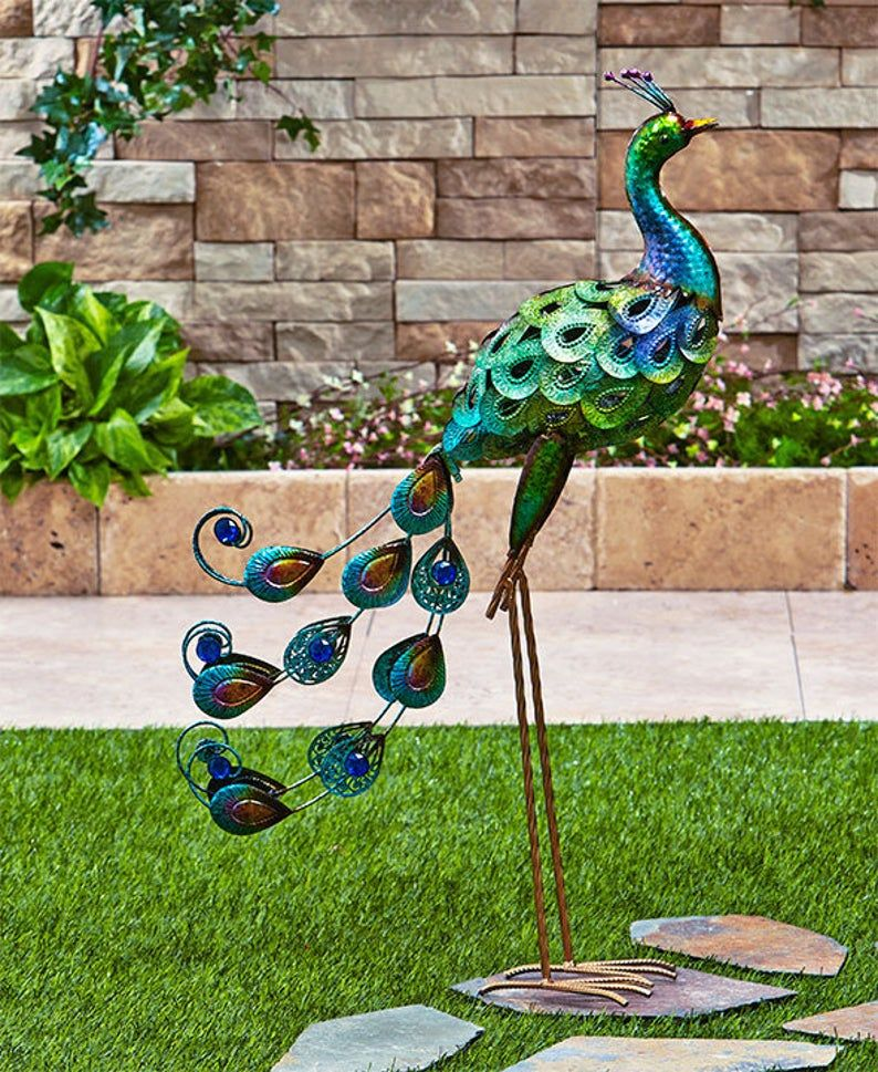 Garden Decor Colorful Metallic Bird, Outdoor Bird Statues
