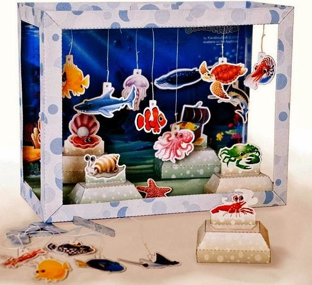 Miniature Children S Bedroom Room Box Diorama: Aquarium Diorama Paper Model For Kids