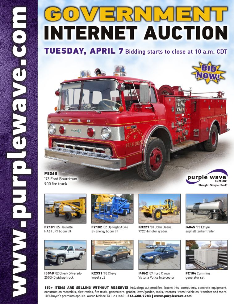 Government Auction April 7 2015 Http Purplewave Com A 150407 Used Construction Equipment Fire Trucks Boom Lift