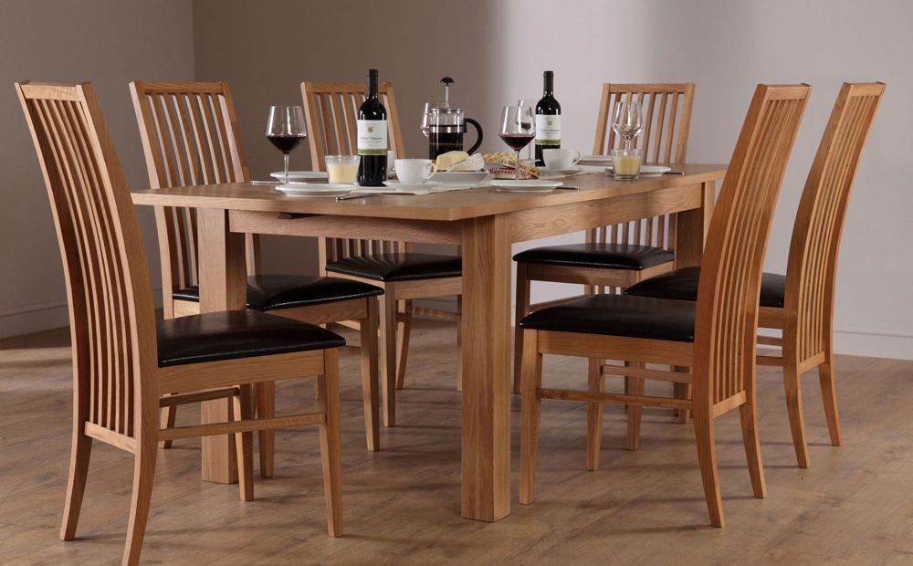 Harrison Extending Oak Dining Table And 4 Newark Chairs Set Black Seat Pad Dining Table Setting Wood Restaurant Chairs Classic Dining Room