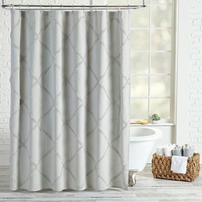Peri Home Chenille Lattice Shower Curtain In Grey Curtains