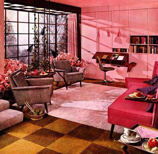 Mid century pink home | Vintage home | Pinterest | Mid century
