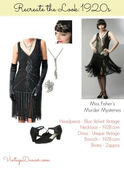 1a1b8038fb4 1920s beaded dress worn by Miss Fisher recreated. Get this look at  VintageDancer.com 1920s
