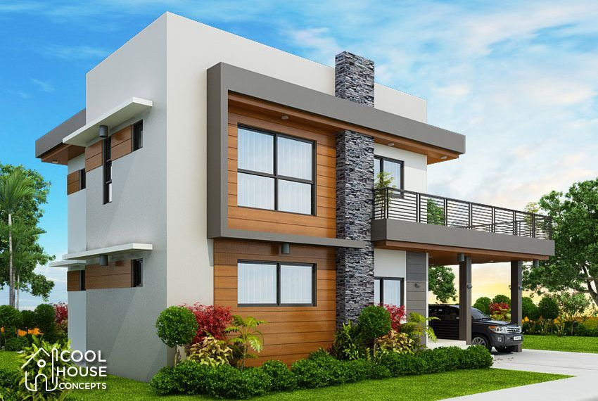 Four Bedrooms Two Storey Modern House Cool House Concepts In 2020 Duplex House Design Architect Design House Modern House Plans