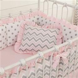 Pink And Gray Chevron Decorative Pillow Rectangular Nurserychevron Baby Beddingpink Grey