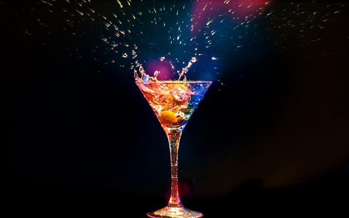 Download Wallpapers Cocktail Cocktail Glass Splashes Neon Light Martini Besthqwallpapers Com Cocktail Glass Martini Cocktails