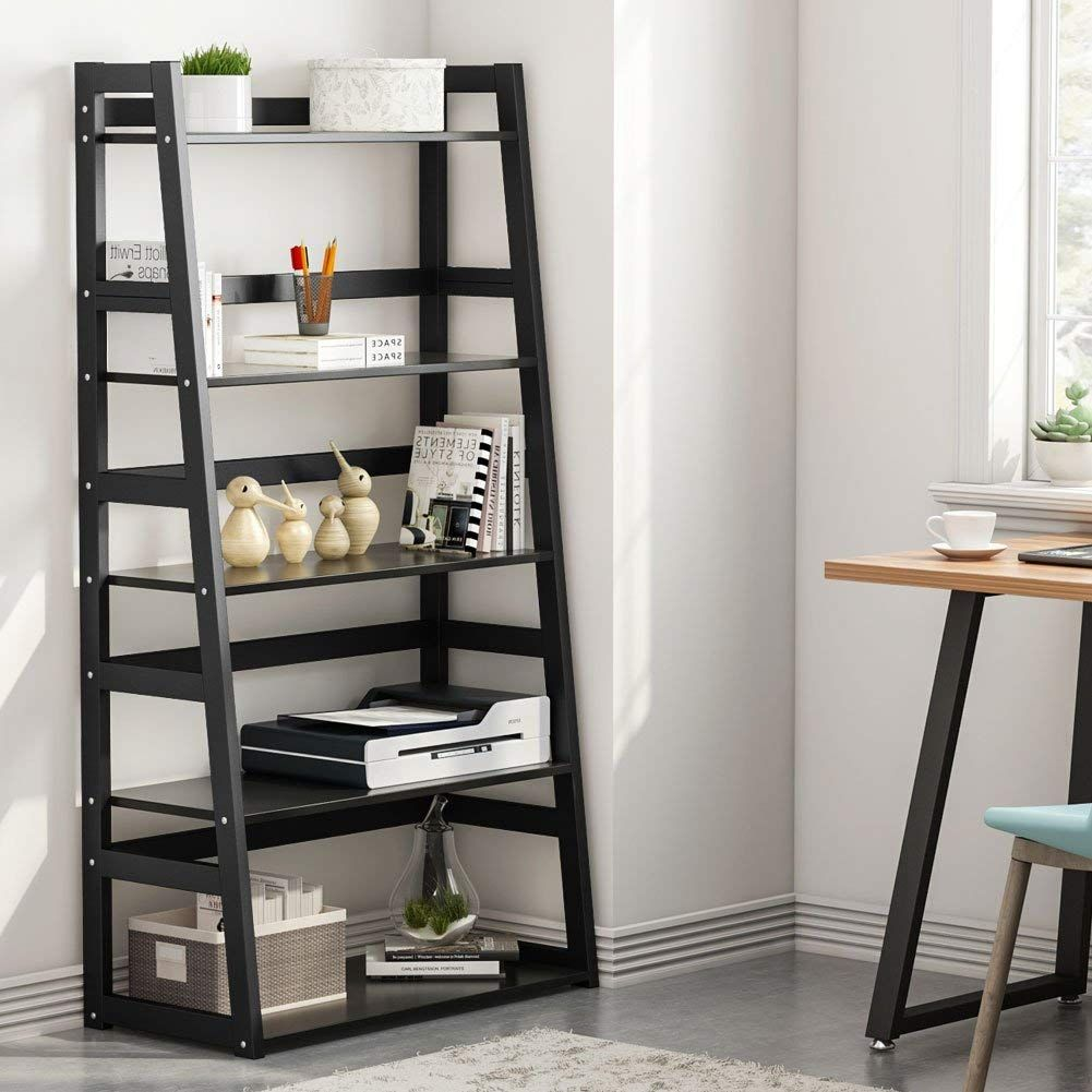 5 Tier Bookshelf Free Standing Ladder Shelf With Strong Metal