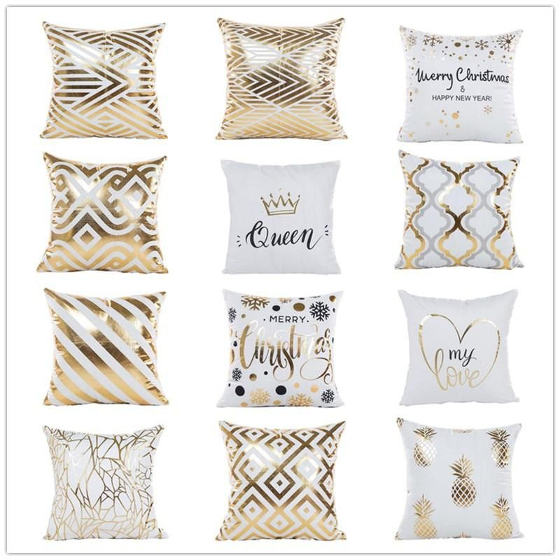 Bronzing Christmas Cushion Cover Gold Printed Pillow Cover Soft Decorative Pillow Case Sofa Christmas Cushion Covers Decorative Pillow Cases Christmas Cushions