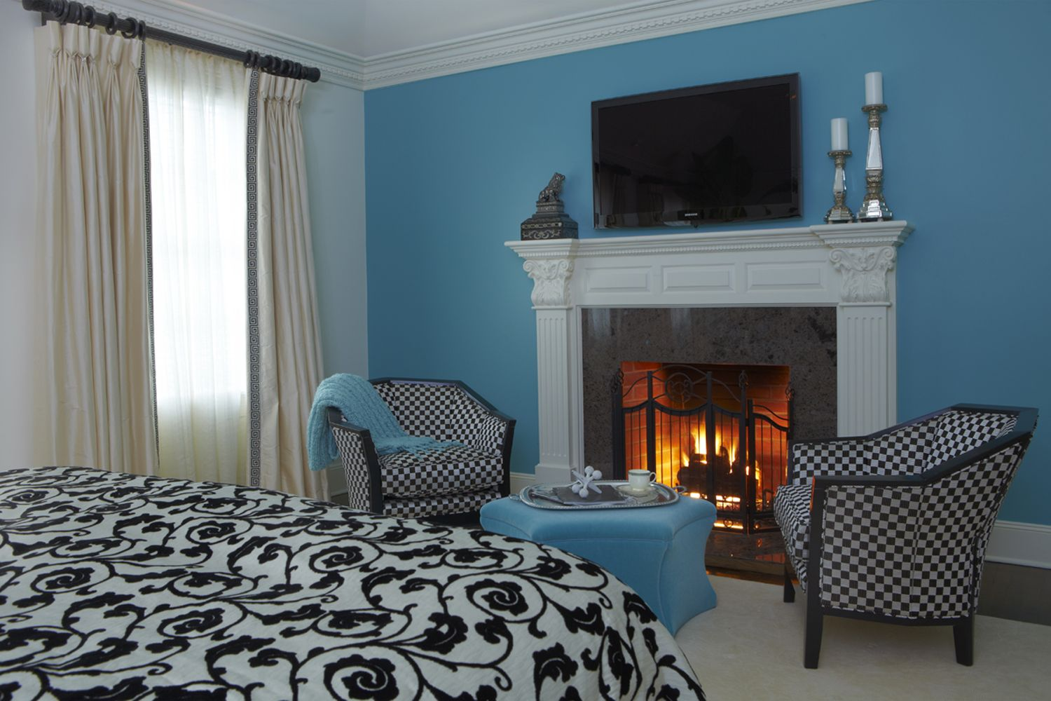 Bedroom Fireplace Design Decorating Classic Fireplaces For Modern Bedroom With Blue Wall