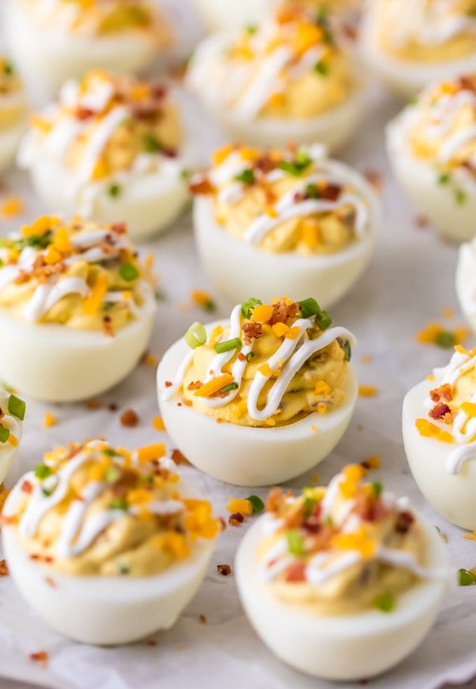 Loaded Deviled Eggs With Bacon Sour Cream Cheese And Chives In 2020 Deviled Eggs Recipe Best Deviled Eggs Devilled Eggs Recipe Best