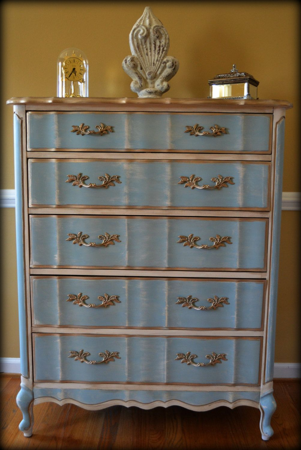 French Provincial Dresser Painted In A Lovely Soft Blue And