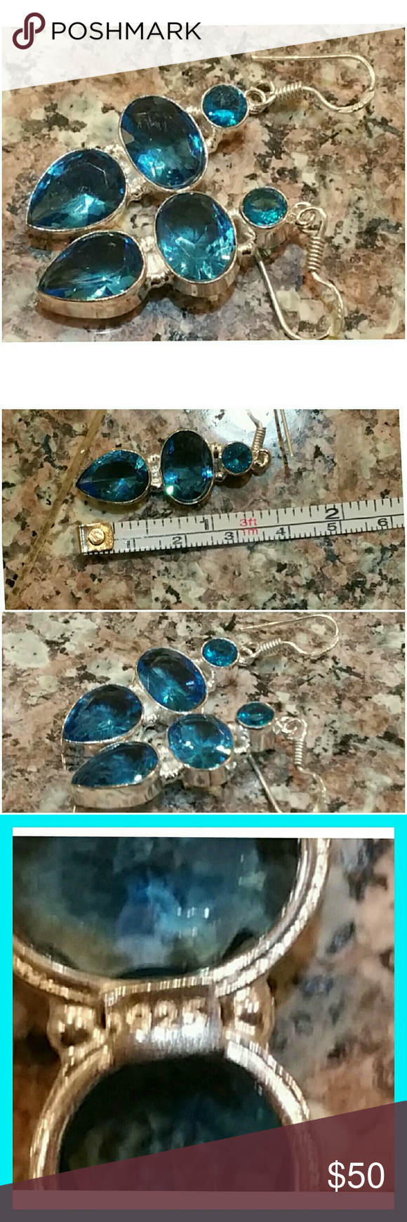 "Genuine Blue Topaz Earrings 2"" Stunning! Set in 925 stamped Solid Sterling Silver. Please see all pictures for details. Brand New. Never Worn. Wholesale Price. Msrp 310.00 Jewelry Earrings"