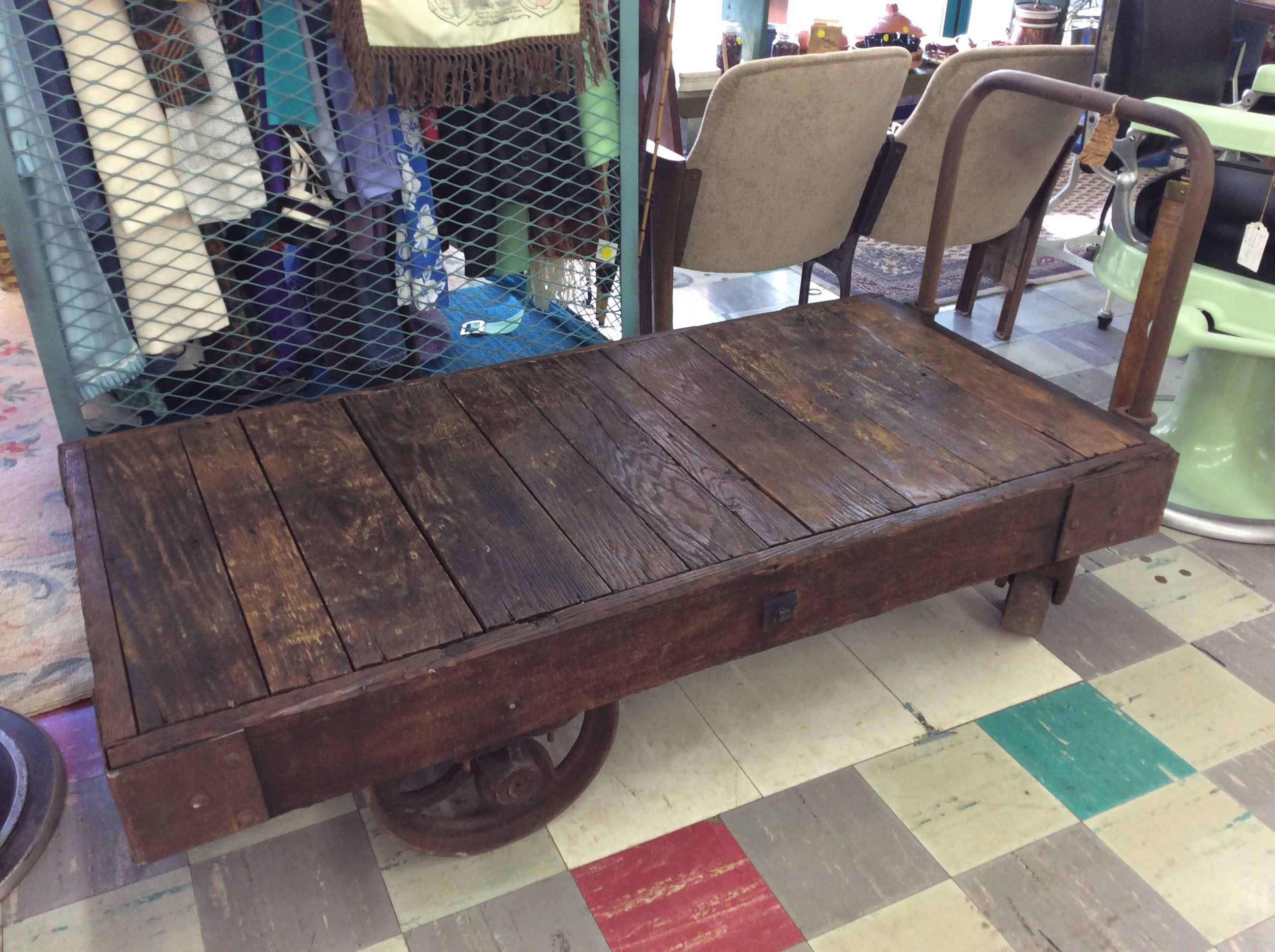 Awesome This Antique Railroad Cart Would Make A Great Coffee Table Interior Design Ideas Tzicisoteloinfo