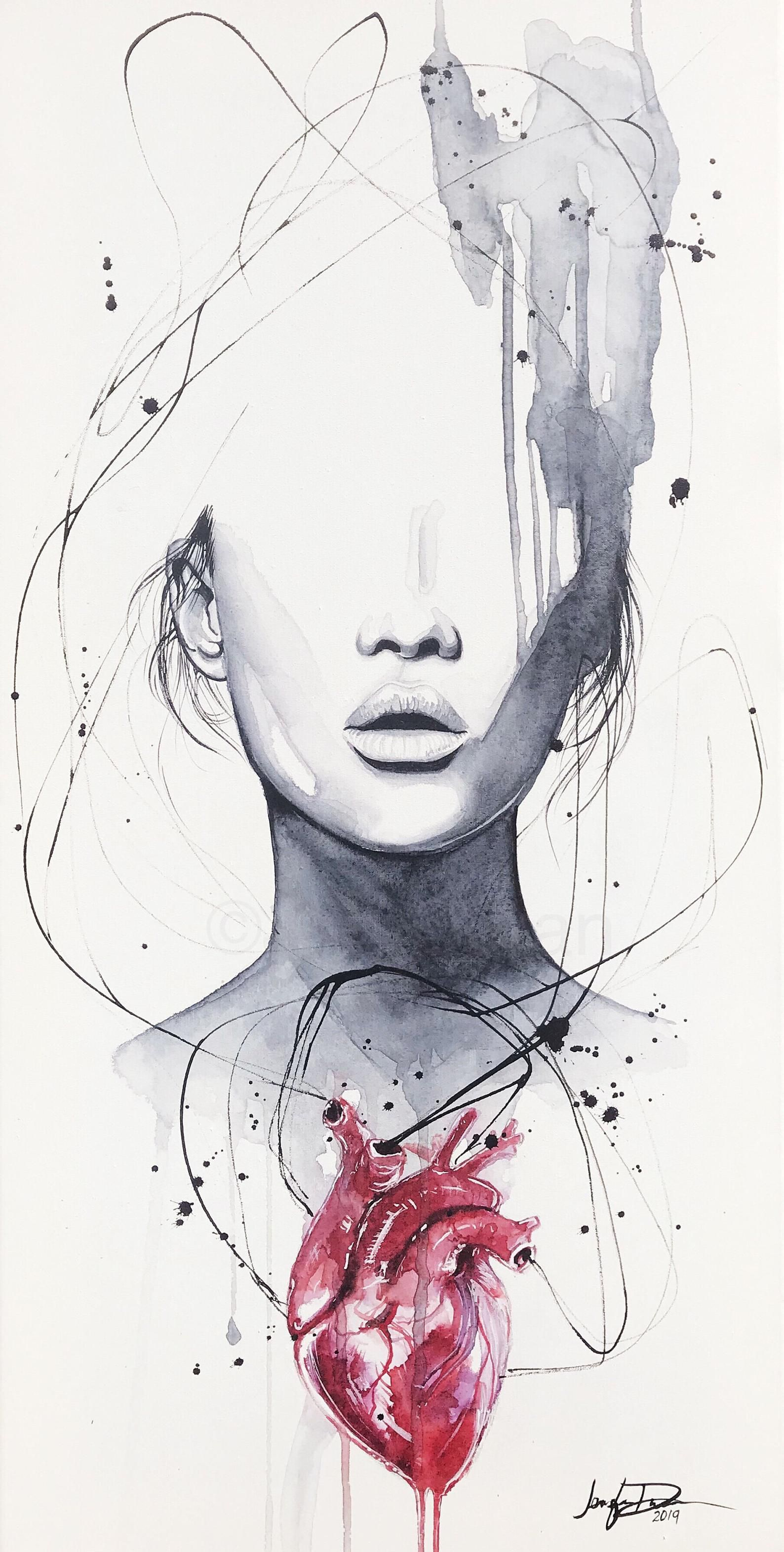 Fine Art Watercolor Print Giclee Heartache By Jen Duran In 2020