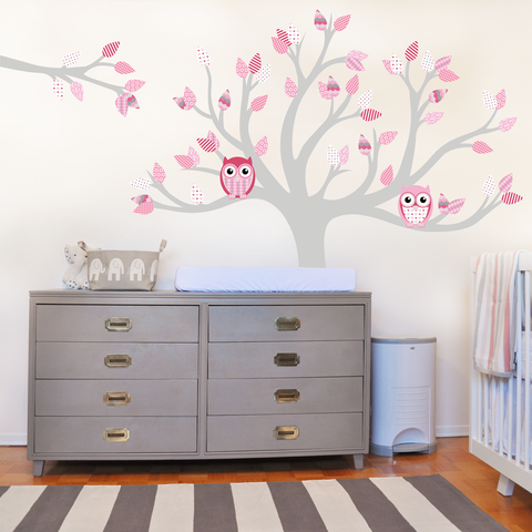 Tree With Pattern Leaves  Pinks In Kids Wall Stickers By Vinyl Impression