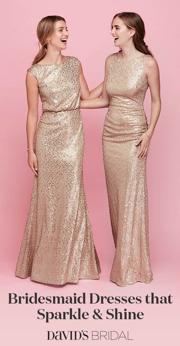 Start with a rose gold bridesmaid dress—then add sparkle! Gold and ...