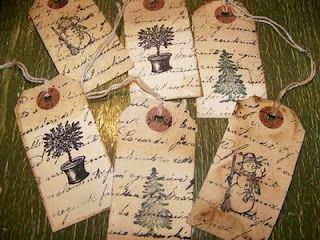 How to age tags with coffee, vanilla and cinnamon.