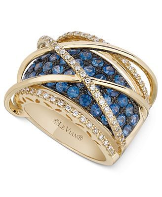 Le Vian Sapphire 2 1 2 Ct T W And Diamond 1 3 Ct T W Orbital Ring In 14k Gold Fabulous Jewelry Beautiful Jewelry Levian Rings