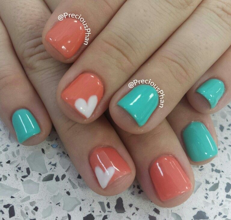 Mint, Coral And Heart Nails