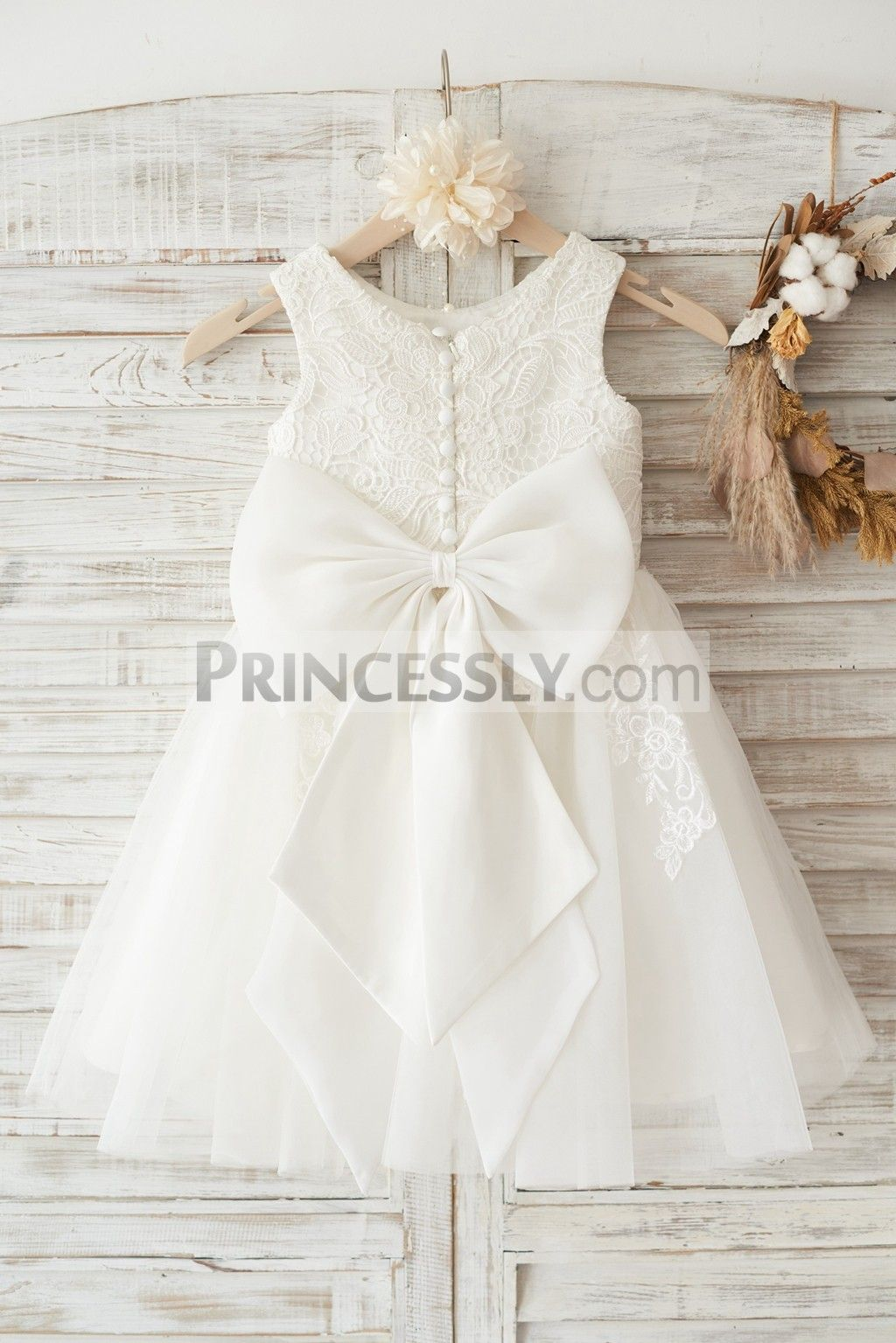 Ivory lace tulle wedding flower girl dress with big bow in