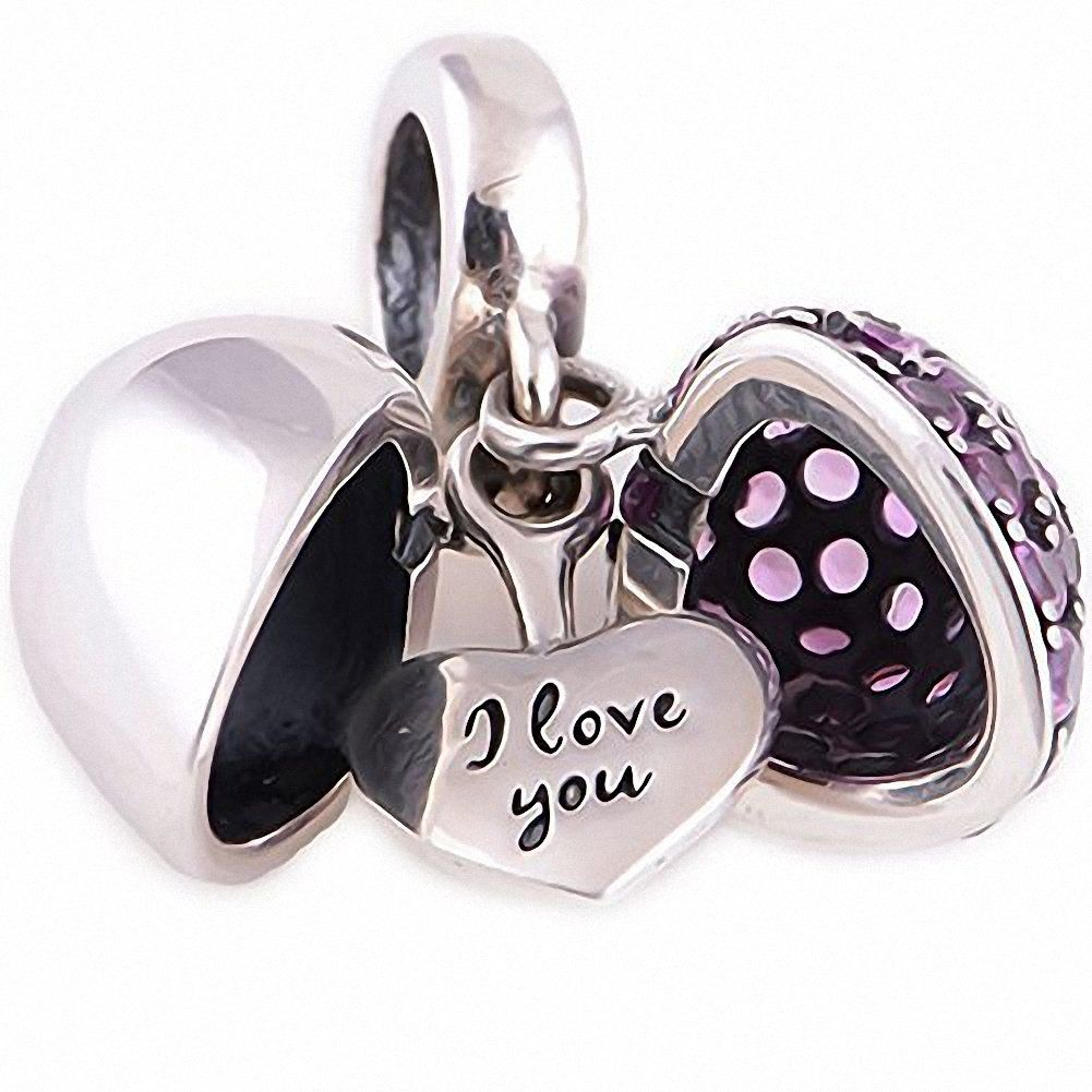 [Sponsored]I Love You - Silver Heart Charm - Sterling Silver 925 Charm Bead 1na2nD0