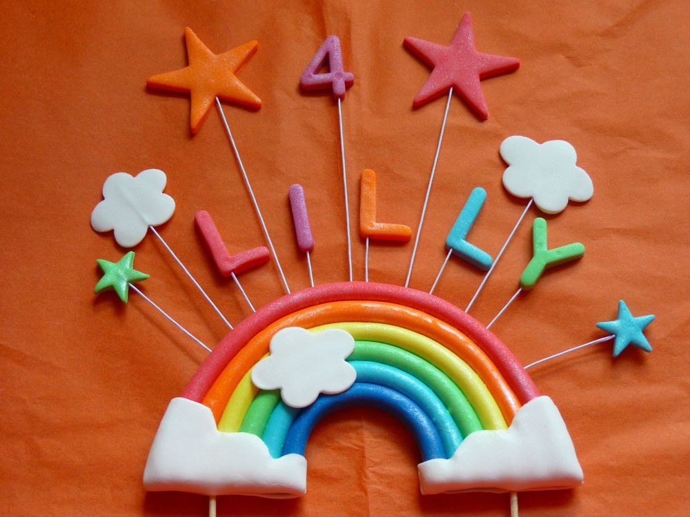 Medium Rainbow Stars Edible sugar paste cake topper ...