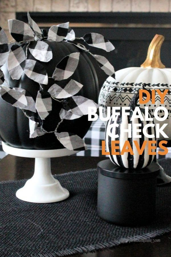 Black and White DIY Chalkboard Pumpkin with Buffalo Check