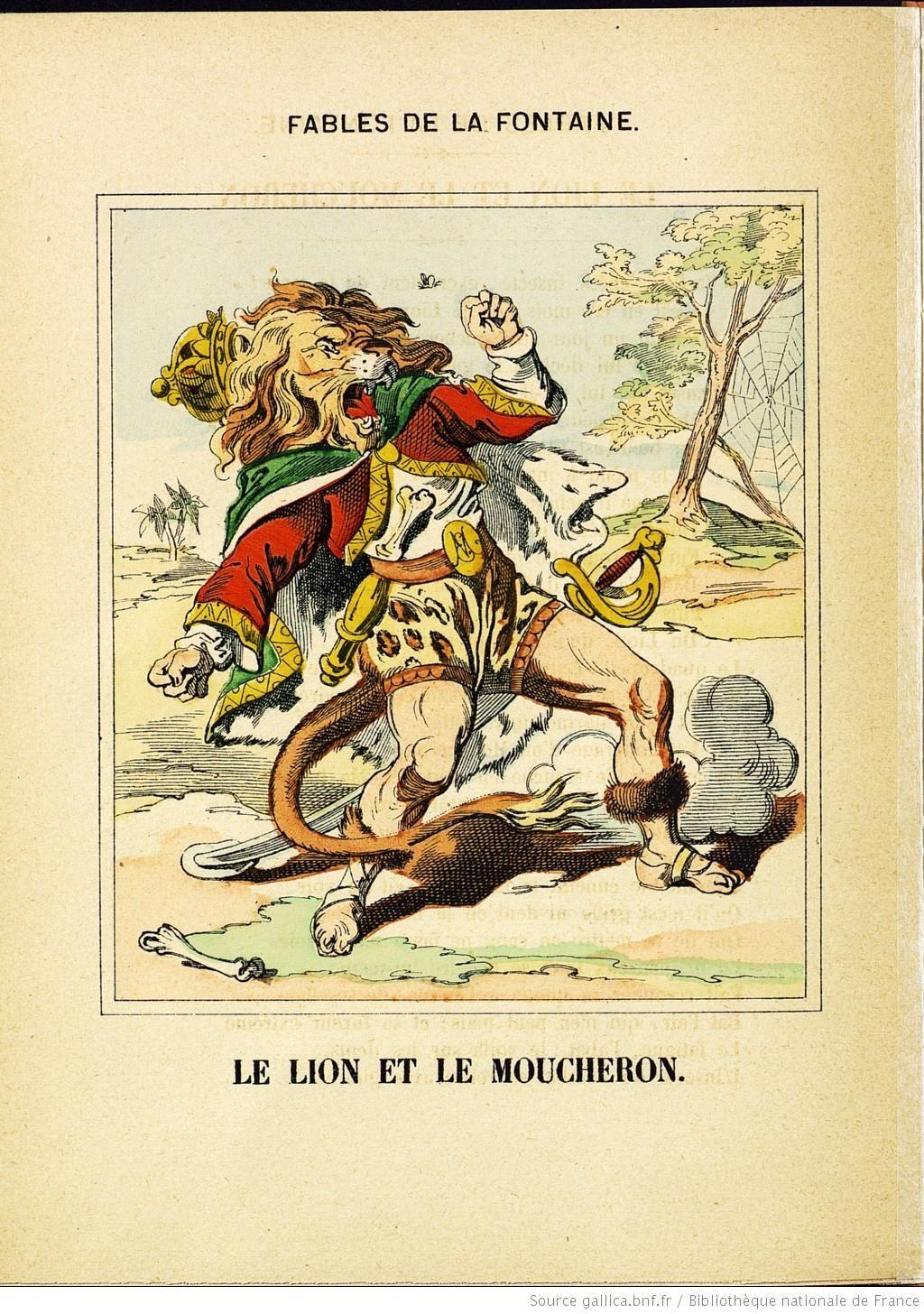 Fables de la fontaine images d 39 pinal le lion et le moucheron bnf bibliotheca jean de la - Le renard et la cigogne dessin ...