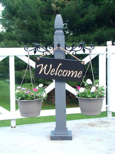 Porch Post Hanging Sign Post Welcome Porch Decor Outdoor Spaces Simple Decorative Sign Posts And Brackets
