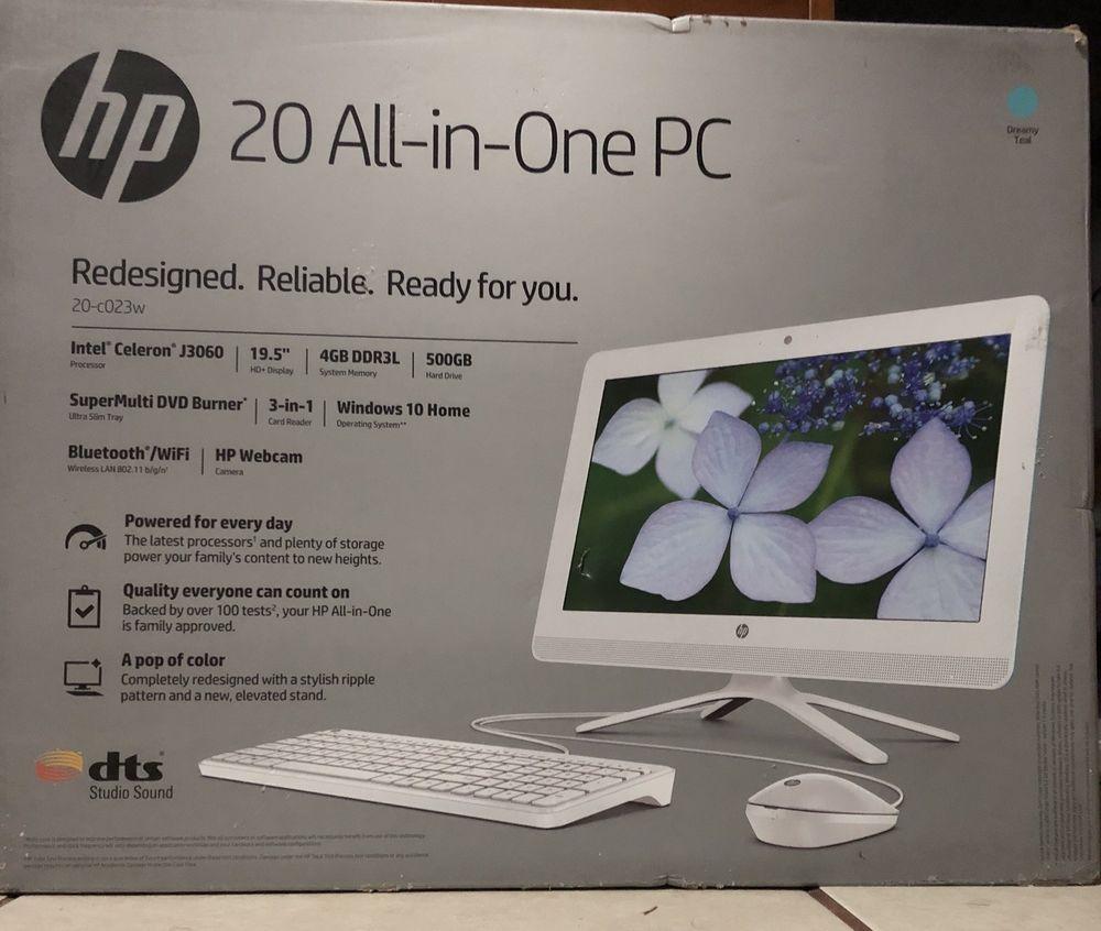 Brand New Hp 20 C023w All In One Pc Ebay All In One Pc Desktop Computers All In One