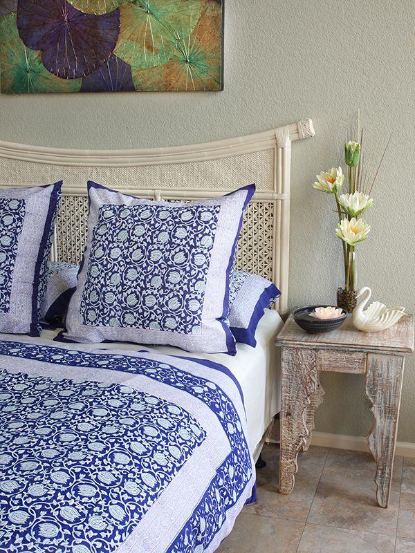 Midnight Lotus Asian Blue Floral European Pillow Sham